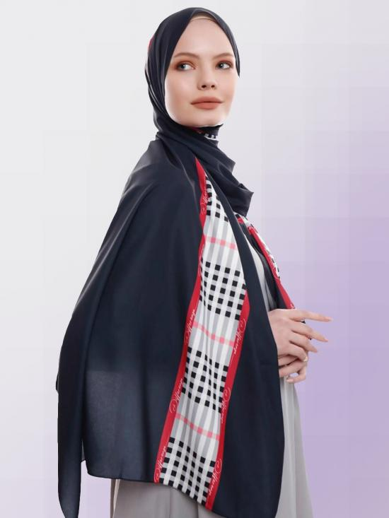 Russian Crisp Scarf Hijab With Checked Strips Print In Black