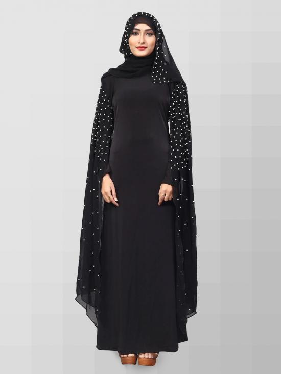 Lycra Chiffon Abaya Burka And Hijab With Pearl Work In Black