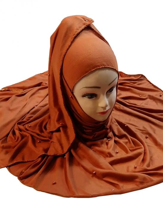 Two Way Hosiery Cotton Hijab In Mustard