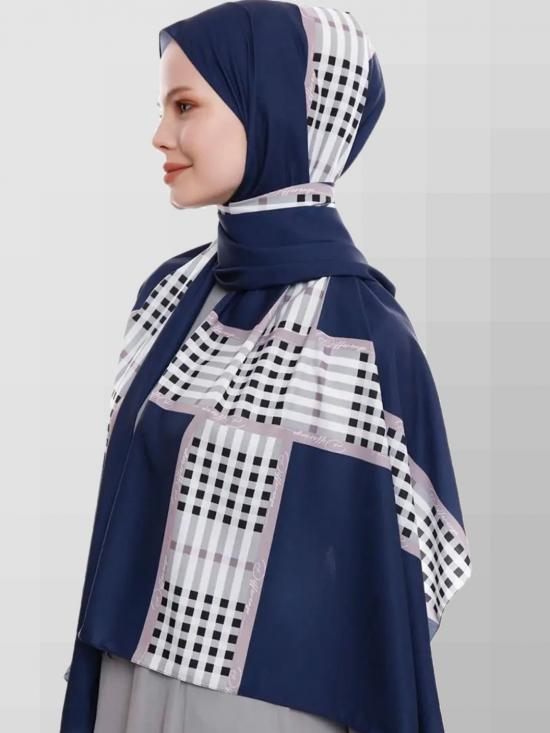 Russian Crisp Scarf Hijab With Checked Strips Print In Navy Blue