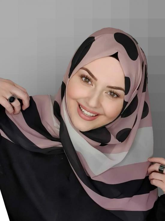 Georgette Scarf Hijab With Polka Dot Strips Print In Ivory