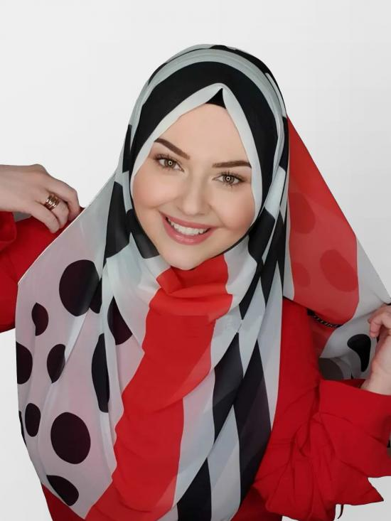 Georgette Scarf Hijab With Polka Dot Strips Print In White