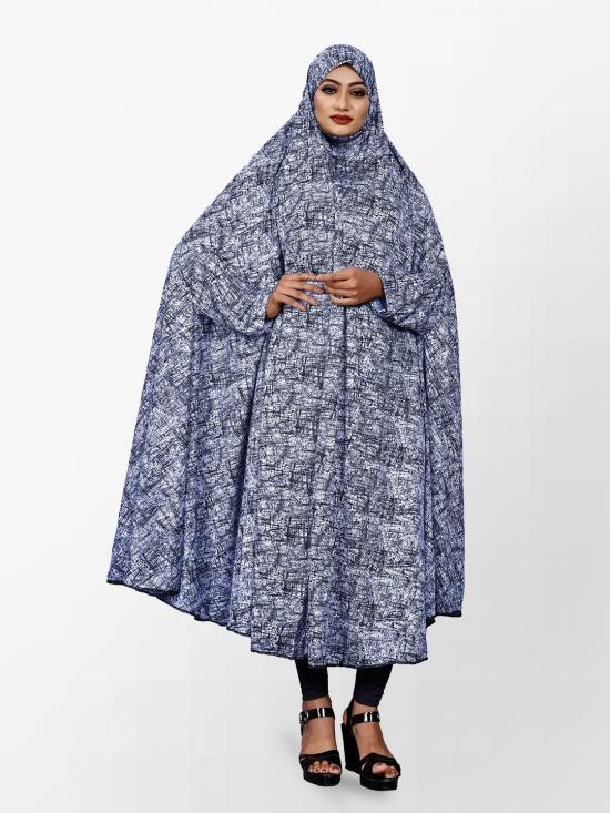 Viscose Lycra Chaderi Abaya Burqa with Print In Blue