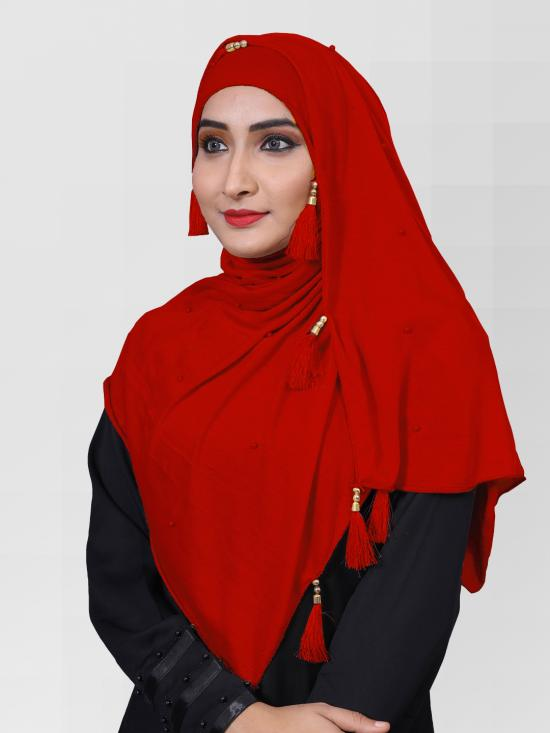 Two Way Hosiery Cotton Hijab In Red