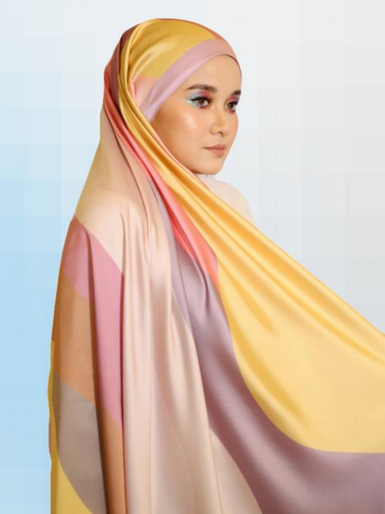 Satin Silk Hijab With Printed Square In Multicolor