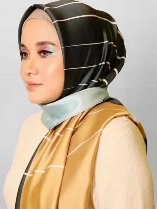 Satin Silk Hijab With Printed Square In Multicolor