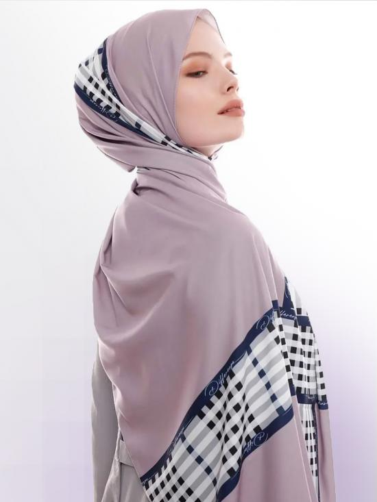 Russian Crisp Scarf Hijab With Checked Strips Print In Ivory