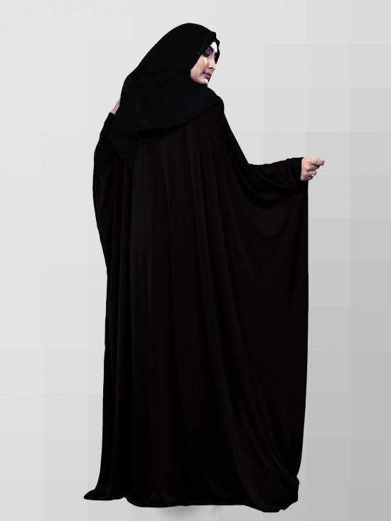 Lycra Abaya With Chiffon Duppata In Black