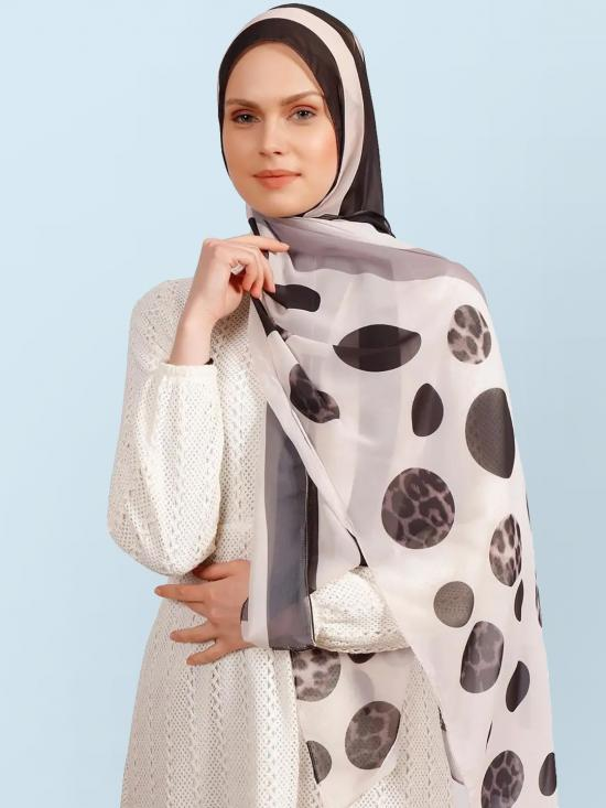 Georgette Hijab With Animal Printed Polka Dot Strips In Off White