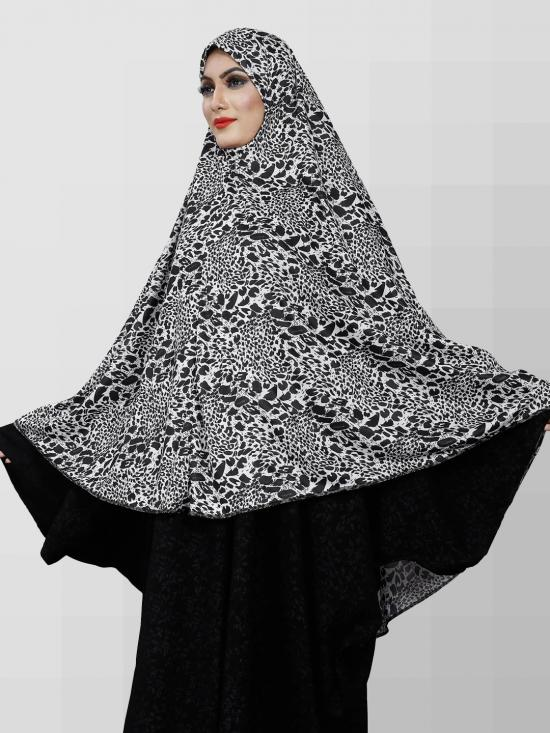 Viscose Lycra Chaderi Hijab Makhna With Animal Print In Black And White