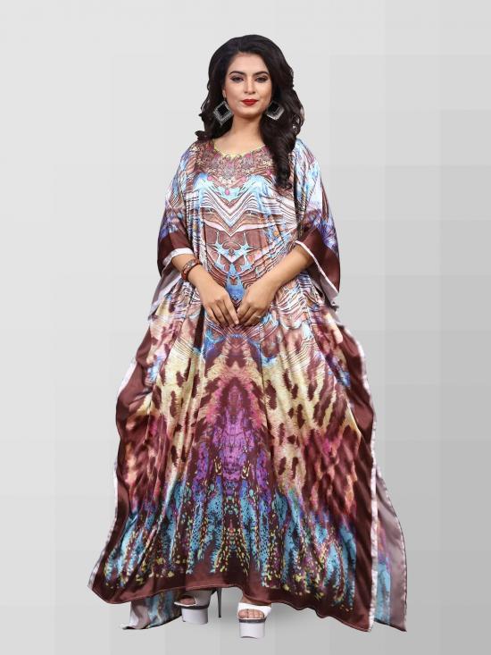 Satin Silk Kaftan With Digital Print In Multicolor