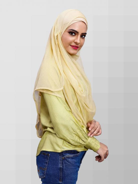 Two Loop Net Lycra Instant Hijab In Yellow