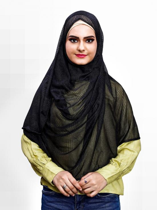 Soft Net Lycra Instant Hijab In Black