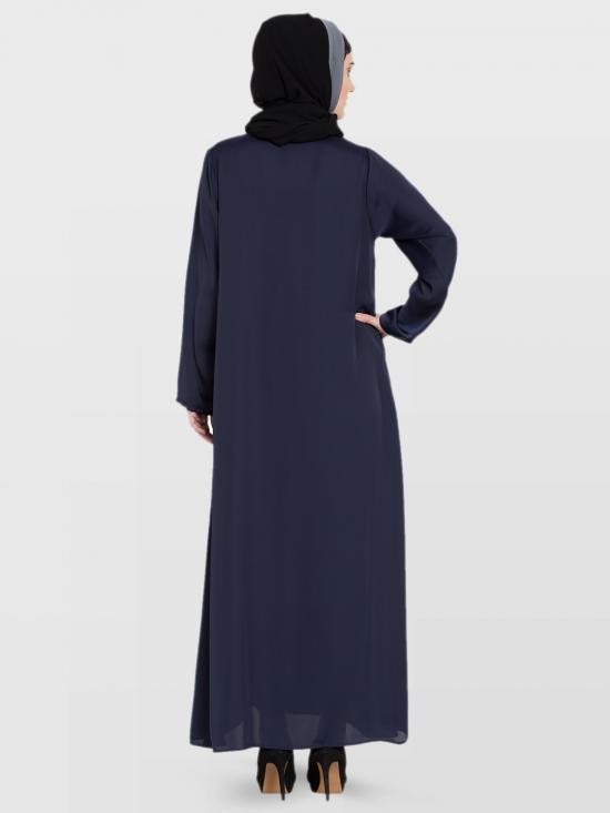 100% Polyester Satin Nida Abaya With Front Zip And Slit Hand Work In Navy Blue