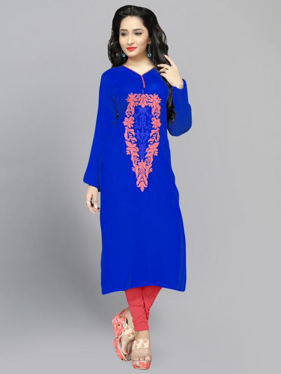 Rayon Cotton Kurti With Thread Embroidery  In Blue