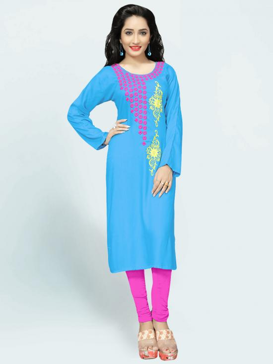 Rayon Cotton Kurti With Embroidery  In Sky Blue