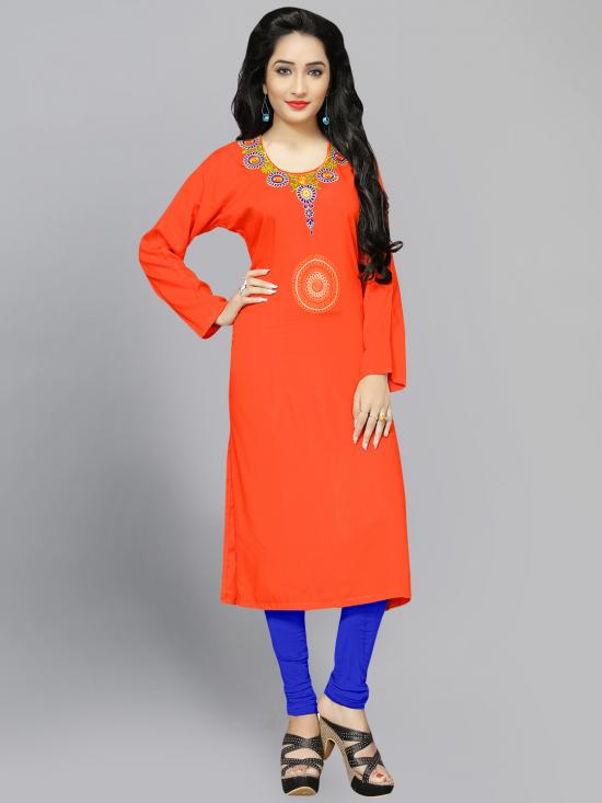 Rayon Soft Cotton Kurti With Thread Embroidery  In Orange