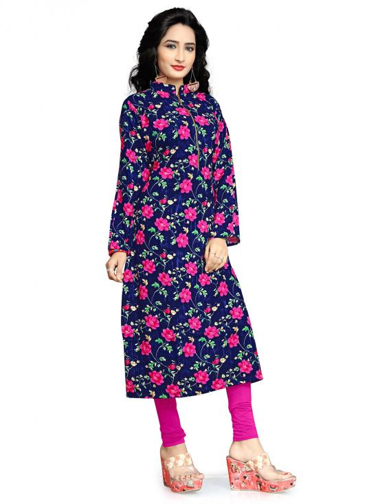 Rayon Soft Cotton Kurti With Printed  In Navy Blue And Pink