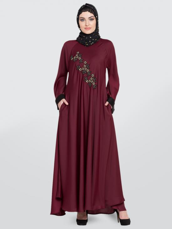 100% Polyester Satin Nida Abaya Hand Embroidered Umbrella In Maroon