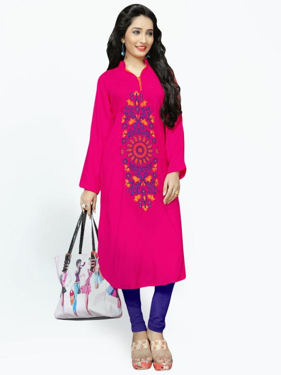 Rayon Cotton Kurti With Thread Embroidery  In Pink
