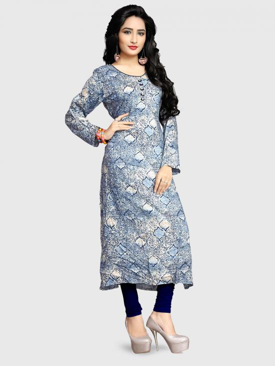 Rayon Soft Cotton Kurti With Printed  In Multi Color