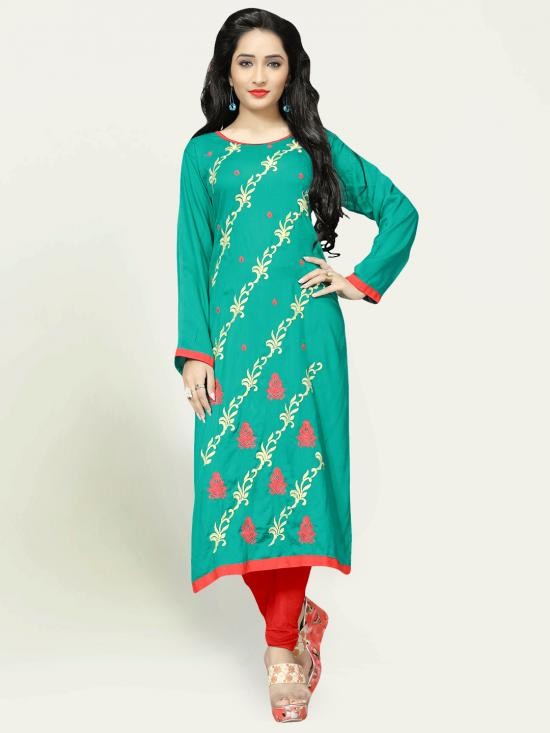 Rayon Cotton Kurti With Thread Embroidery  In Green