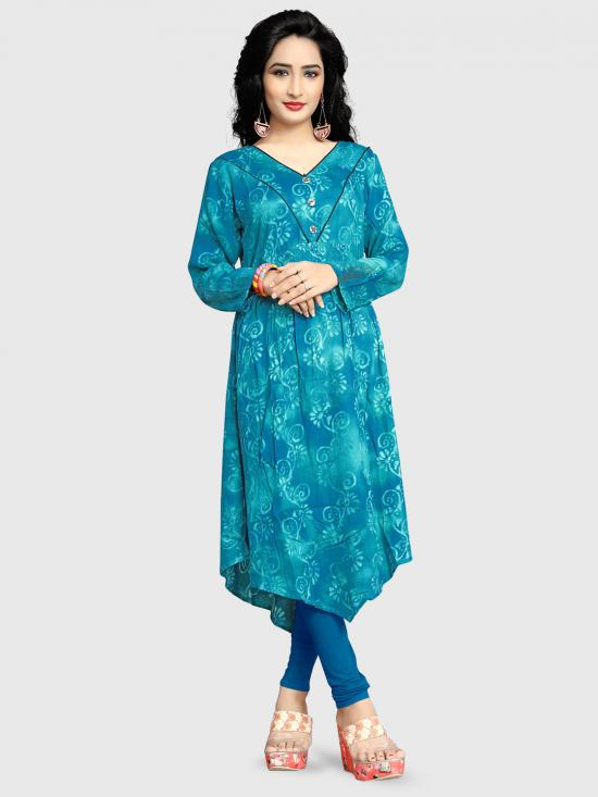 Rayon Soft Cotton Kurti With Printed  In Sky Blue