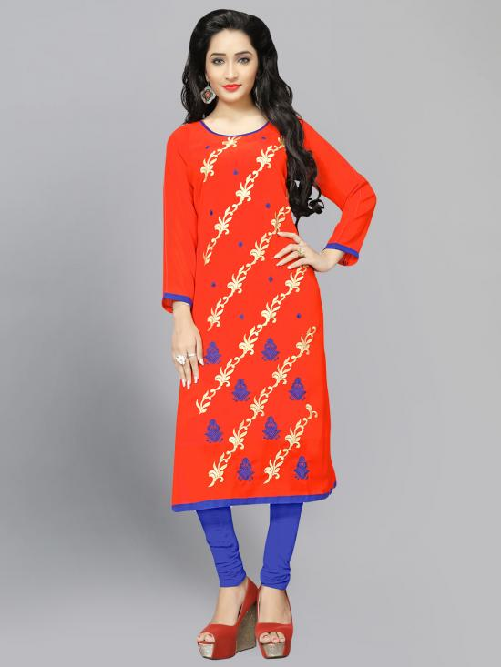 Georgette Kurti With Embroidery  In Orange