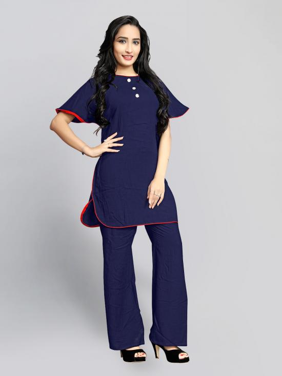 Rayon Slab Kurti With Stylish  In Navy Blue