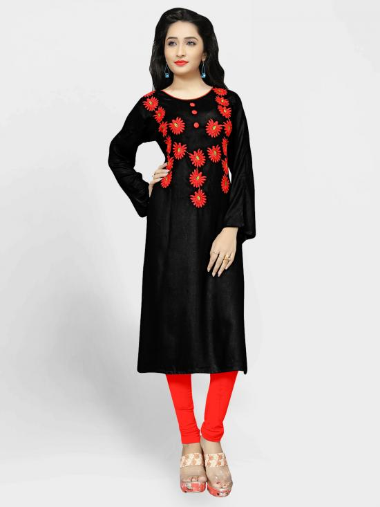 Rayon Cotton Kurti With Thread Embroidery  In Black