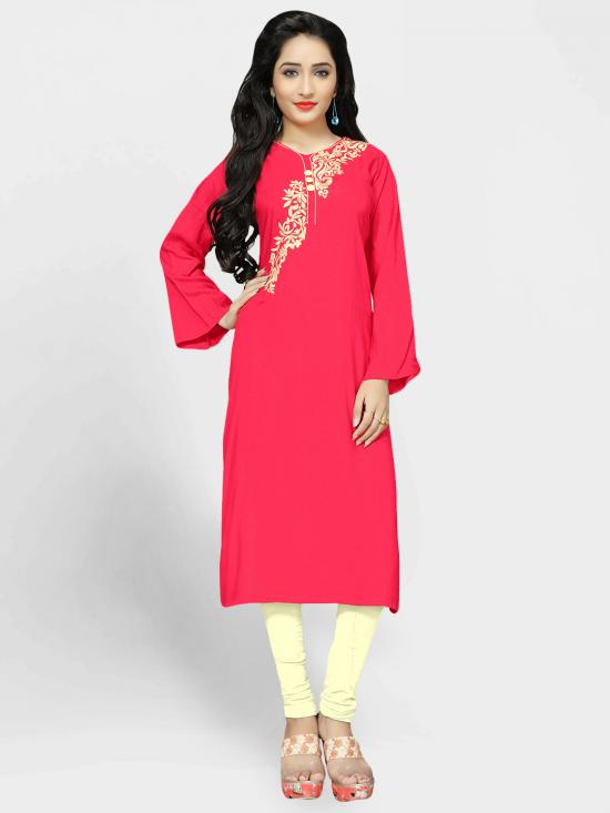 Rayon Soft Cotton Kurti With Thread Embroidery  In Pink