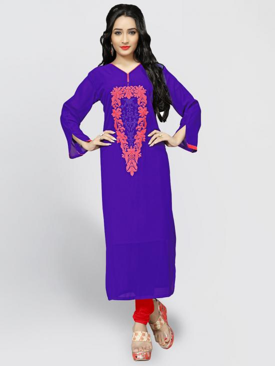 Georgette Kurti With Embroidery  In Blue