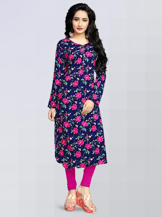 Rayon Soft Cotton Kurti With Stylish Printed In Navy Blue And Pink