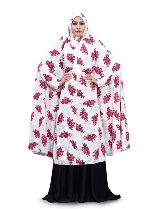 Namazi Chanderi Abaya Burqa With Floral Print In White And Pink