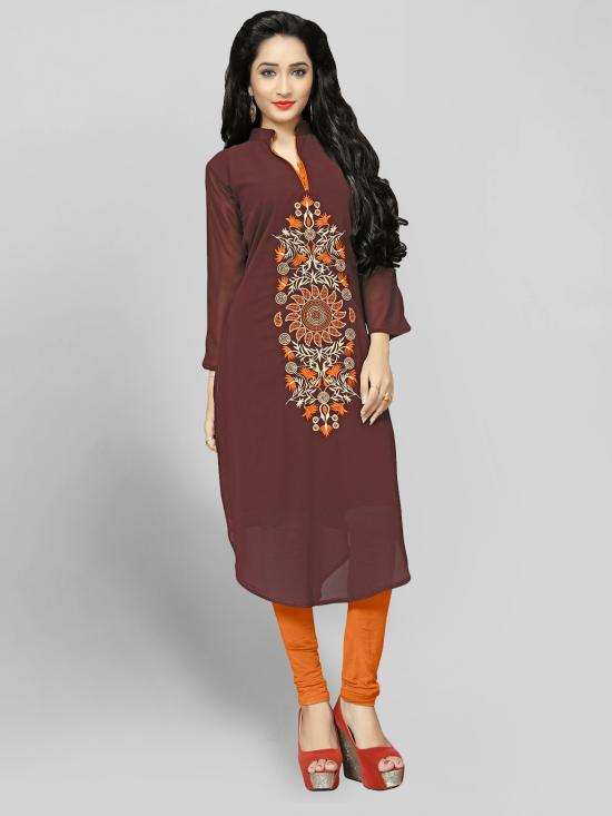 Georgette Kurti With Embroidery  In Brown