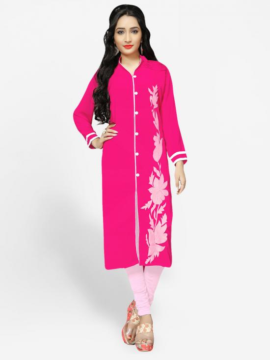 Georgette Kurti With Embroidery  In Pink