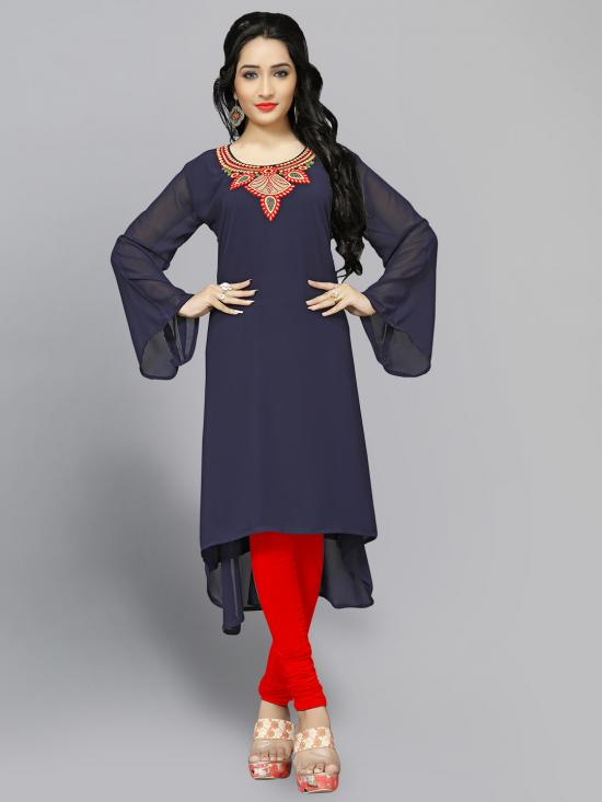 Georgette Kurti With Embroidery  In NavyBlue