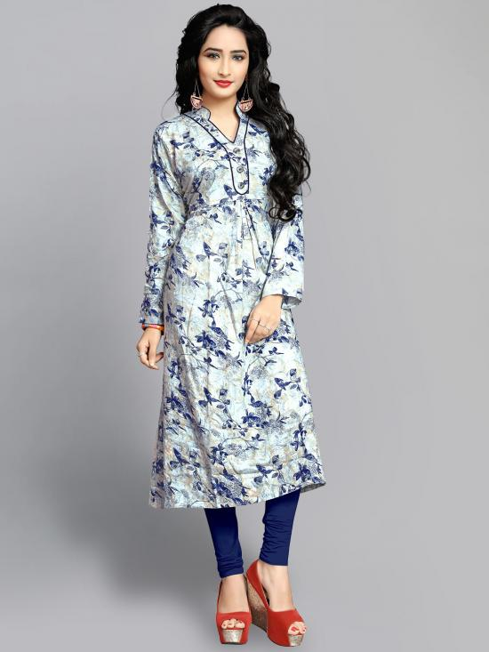 Rayon Soft Cotton Kurti With Printed  In Light Grey