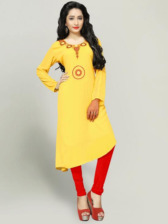 Georgette Kurti With Embroidery  In Yellow