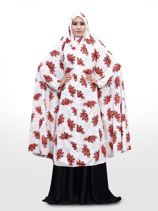 Namazi Chanderi Abaya Burqa With Floral Print In White And Red