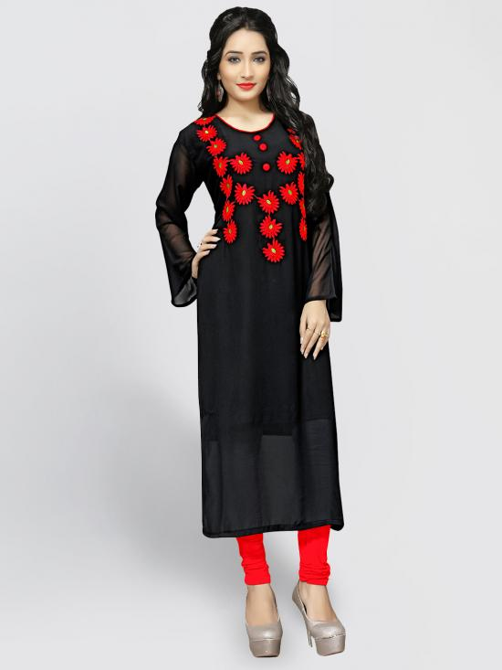 Georgette Kurti With Embroidery  In Black