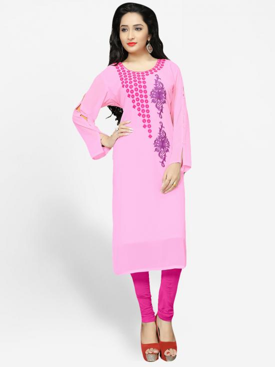 Georgette Kurti With Embroidery  In BabyPink