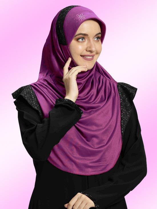 Naaz Knitted Icra Fabric Instant Hijab In Purple