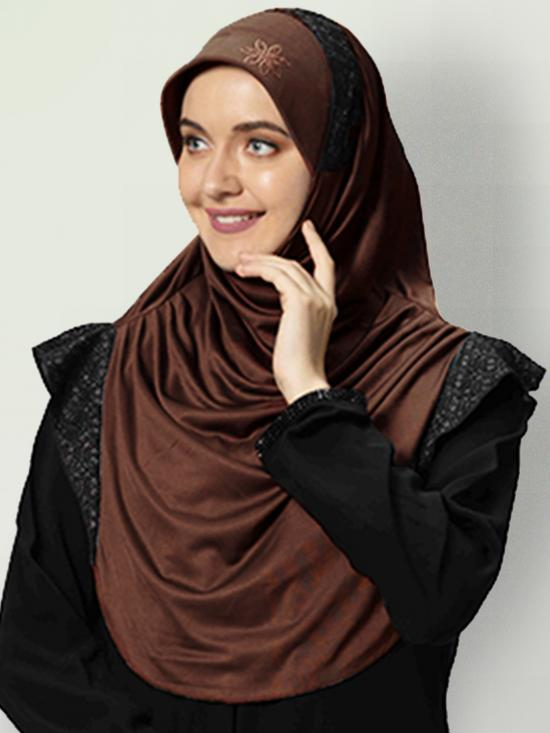 Naaz Knitted Icra Fabric Instant Hijab In Cocco