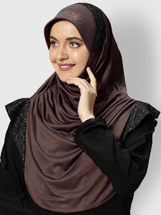 Naaz Knitted Icra Fabric Instant Hijab In Coffee