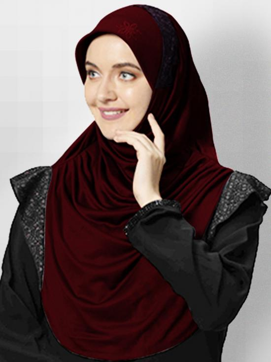 Naaz Knitted Icra Fabric Instant Hijab In Dark Maroon