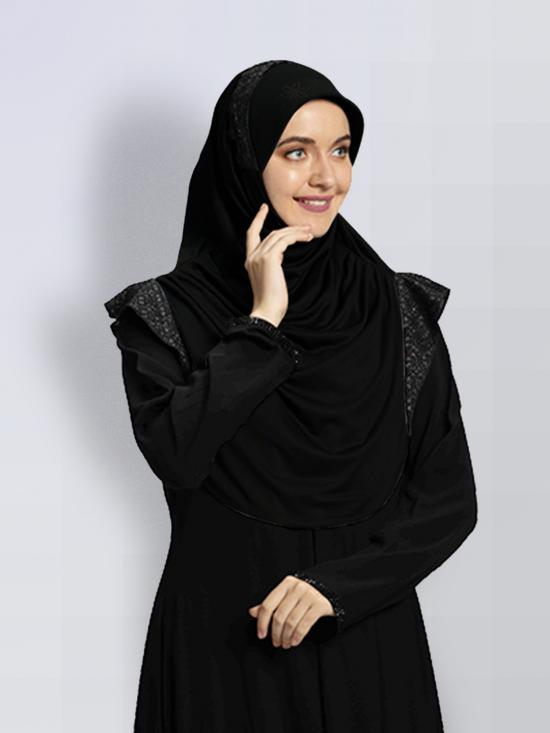 Naaz Knitted Icra Fabric Instant Hijab In Black