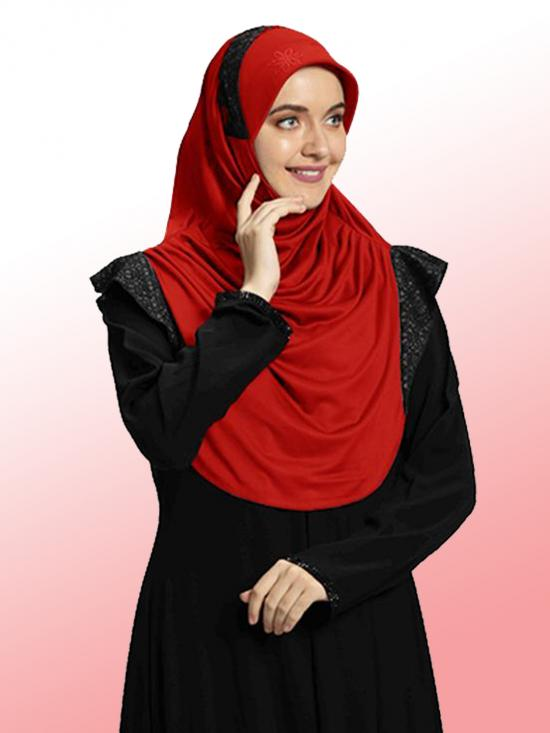 Naaz Knitted Icra Fabric Instant Hijab In Red