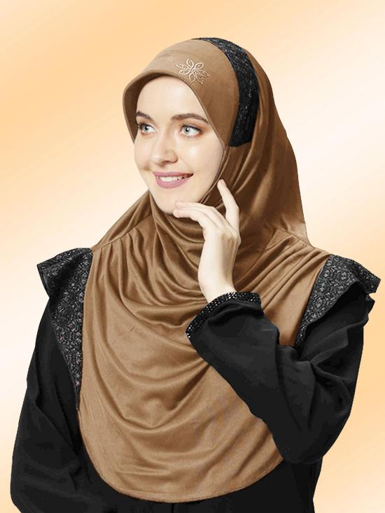 Naaz Knitted Icra Fabric Instant Hijab In Dark Wheat