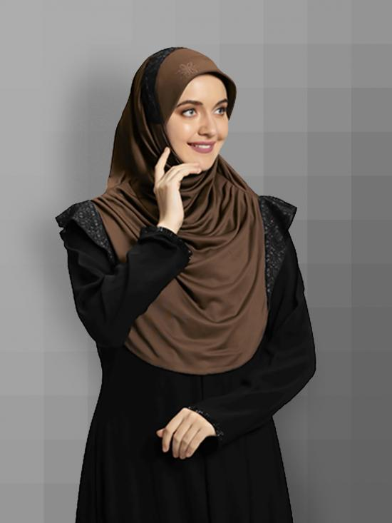Naaz Knitted Icra Fabric Instant Hijab In Formal Grey